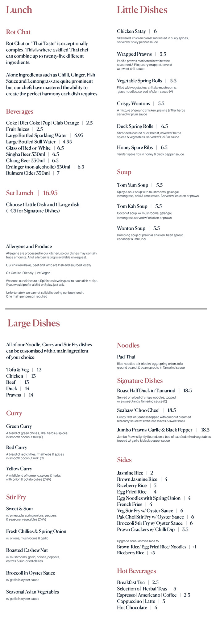 Baan Thai restaurant menu Leopardstown